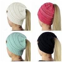 Wholesale Soft Pony - Cable Knit Beanie Hat Pony Tail CC Hat Super Soft Warm with Hole Classic Design Cap Kniitted Beanies Hat for Woman