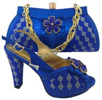 Wholesale african shoes matching handbags for sale - Group buy Hot sale rhinestone bowtie flower design high heel CM african royal blue shoes match handbag set women pumps and bag for dress MM1044