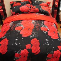 kırmızı çiçek nevresim takımı seti toptan satış-3 ADET Nevresim Set 3D Gül Çiçek Yağlıboya Yatak Yatak Seti Nevresim Kraliçe Renk Kırmızı Ev Yatak Odası Yorgan Kapak Yastık