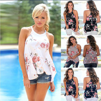 Wholesale floral halter top - Floral Print Sleeveless T shirt for Women Tops Ladies Tees Halter Casual Summer T-shirts Female Plus Size C4599