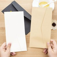 Wholesale Craft Cards Envelopes - Wholesale- 20pcs lot Formal Business Envelope Black White Craft Paper Envelopes for Card Scrapbooking Gifts Pure Color Paper Money Bags