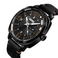 1509064bc8c1 SKMEI 1351 ejército reloj digital militar hombres deporte reloj correa de cuero  blanco número árabe clásico dial negro relojes de pulsera resistente al agua