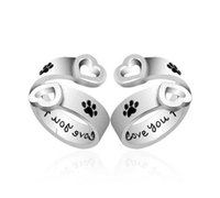 ingrosso i monili di barretta migliori-Dog Paw Print Ti amerò per sempre Heart Love Ring Anelli regolabili per le donne Best Friend Pet Jewelry