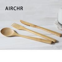 cuchillos tenedores juegos de cucharas al por mayor-Airchr Nueva llegada vajilla de bambú 30 piezas (10 juegos) Cuchara tenedor de madera 100% de bambú natural Juego de vajilla