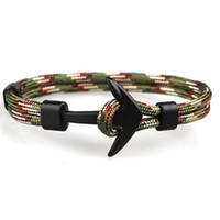 handmade paracord pulseiras venda por atacado-Design Popular Handmade Mens e Womens Paracord Anchor Pulseira Multi Cores Pulseira de Tecido para Atacado 6 PCS