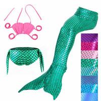 ingrosso costumi sirena bambino-3PCS / Set The Little Mermaid Tail Costume Princess Ariel Bambini Mermaid Tail Cosplay Bambini Per ragazza Fancy Swimsuit