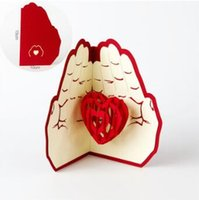 Wholesale valentine postcards - Love in the Hand 3D Pop UP Greeting Card Valentine Day Anniversary Birthday Christmas Wedding Party Cards Postcard Gifts CCA8892 100pcs