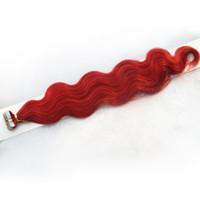 dalga saç india toptan satış-7A İnsan saç uzantıları bant 100g Kırmızı bant remy hindistan saç uzantıları 40 adet vücut dalga cilt atkı bant saç uzantıları