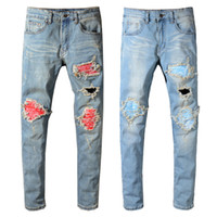 Wholesale black ripped skinny jeans plus size online - Balmain New Fashion Mens Designer Brand Black Jeans Skinny Ripped Destroyed Stretch Slim Fit Hop Hop Pants With Holes For Men