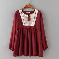 Wholesale Cute Blouses - Plus size Autumn Spring Women Blouses Cute style Long sleeve Lapel Neck Women Shirts Red Blue and White colors
