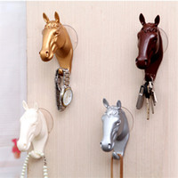 Wholesale Resin Animal Heads Wholesale - Metope Hook Resin Shower Room Wall Hanging Strong No Trace Three Dimensional Sucker Animal Head Decorate Free Punching 5 1sx V
