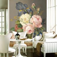 Wholesale bedroom art photos flowers online - Custom D Luxury Wallpaper Elegant Flowers Photo Wallpaper Silk Wall Murals Home decor Large wall Art Kid room Bedroom Sofa TV back