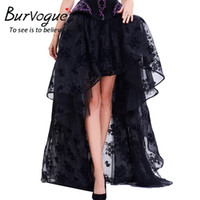 Wholesale Gothic Long Skirts Women - Burvogue Long Maxi Steampunk Elastic Skirts Women Black Fluffy Tulle Skirt Ruffled Chiffon Lace Midi Gothic Corset Skirt 2017