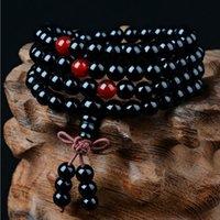 ingrosso il rosario del braccialetto borda il legno di sandalo-108 Perle 8mm Sandalo buddista naturale Buddha meditazione perline braccialetto per le donne uomini preghiera rosario perlina decorazione appesa