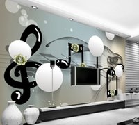 Wholesale abstract free wallpaper - Free Shipping Custom 3D Ball Stereo Abstract Background Wall Painting Music Symbols Living Room Photo Wall Minimalism Wallpaper