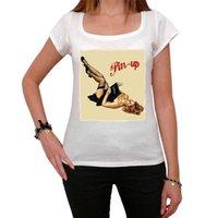 ingrosso pin divertente-T-shirt con scollo torso corto da donna con stampa a t-shirt