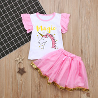 Wholesale cute baby girl clothes summer wear for sale - INS Baby Girl s Clothing Sets Girls Alphabet Unicorn Sleeveless Vest Top Short Skirt Two Piece Children s Wear