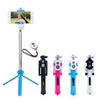 складывание штатива оптовых-Универсальный Android / IOS телефон складной выдвижная Selfie Stick авто Selfie Stick штатив + клип держатель + Bluetooth пульт дистанционного управления набор