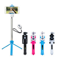mando a distancia al por mayor-Universal Android / IOS plegable de teléfono Selfie Stick Auto Selfie Stick trípode + Clip Holder + Bluetooth Remote Controller Set