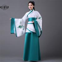 trajes china venda por atacado-antiga dinastia china dinastia antiga das mulheres adultas mulheres azuis hanfu mulheres hanfu vestido folk dinastia tang