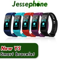 Wholesale Color White Activities - Y5 Smart Bracelet Wristband Fitness Tracker Color Screen Heart Rate Sleep Pedometer Sport Waterproof Activity Tracker for iPhone Samsung