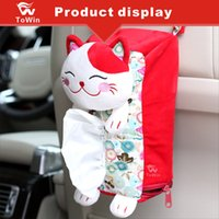 Wholesale tissue box multifunctional resale online - Multifunctional Car Tissue Box Cute Hanging Tissue Holder Case Red Lucky Cat Paper Towel Cover Case Hanging On the Back Seat