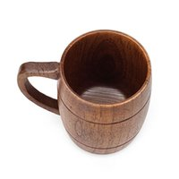 Wholesale environmental led - Monolayer Wood Cup With Handle Safe Environmental Protection Wooden Teacup Simple Retro Drinkwater Factory Direct Sale 22 5xw X
