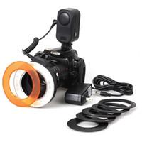 oem lcd ekranlar toptan satış-LD-48 Canon 7D 6D 5D Nikon, Sony Pentax Kamera için LCD Ekranlı Makro Ring Flaş Işık Video lamba Kamera Flaş Işığı LED