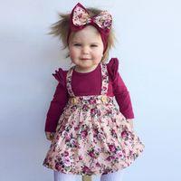Wholesale Little Girl Suspender Style - 2018 new summer baby girl broken flower suspender dress little kids all match soft cotton princess party dress