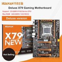 x1 destek toptan satış-HUANAN Deluxe X79 Anakart LGA2011 3 * PCI-E x16 Yuvaları 2 * SATA3.0 Destek 4 * 16G REG ECC Bellek Ve Xeon E5 İşlemci 7.1 Ses Parça Crossf