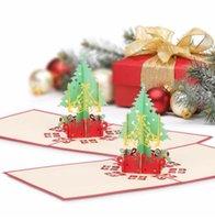 ingrosso nuove carte pop up-Merry Christmas Gift Cards Albero di Natale 3D Laser Pop-up Tipo pieghevole Biglietto di auguri per Navidad Natal Capodanno Bomboniere