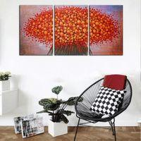 painéis de flores de pintura a óleo venda por atacado-Frete Grátis Grande 3 Painéis HD Conjunto de Impressão Flor Vermelha Abstrata Pintura A Óleo Sobre Tela Wall Art Imagem Para Sala de estar