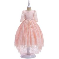 Wholesale small short wedding dress for sale - Small children s lace dress girls flowers lace swallowtail princess dress sleeves backless wedding dress