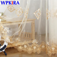 портьеры шторы  оптовых-Simple Europe  Water Soluble Screen Embroidery Sheer Voile Window Drapes Cortina for Living Room Door Gold Lace Curtains 5