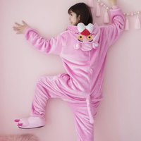 lindo mujeres onesies al por mayor-Leopardo rosado Pijamas siameses Hombres y mujeres de invierno Animal Dibujos animados Felpa Estudiante Coreano Dulce Lindo de manga larga Leopardo travieso