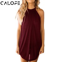 Wholesale womens long black vest - CALOFE 2018 Long Tank Top Women Fashion Solid O-Neck Camisole Tank Sexy Sleeveless Shirt Summer Womens Pleated Clothing Vest
