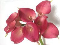 vasos de lírio venda por atacado-Ramo de flores 30 pçs / lote Real Toque PU Calla Lily Flores Artificiais Artificiais para o Casamento Bouquet Party Home Decoração 10 cores (sem vaso)