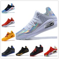 Wholesale mens basketball shoes mvp - 2018 with box Under Armour Stephen Curry 4 Low Cut mens Basketball Shoes Curry 4 Gold Championship MVP Finals Sports training Sneakers