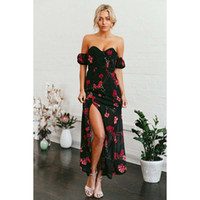 Wholesale Side Shoulder Casual Dresses - Flowers Printed Dresses Off the Shoulder Party Dresses Chiffon Side Split Sexy Black Wrapped Chest Summer Dresses For Women