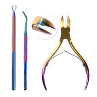 kits de esmalte de uv gel venda por atacado-3 pçs / set Dead Skin Scissors Nail Art Gel UV Polonês Cutícula Remoção Empurrador Titanium Manicure Multi Purpose Ferramentas Coloridas Novo Kit