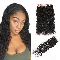 Wholesale wavy hair machine for sale - Group buy Brazilian Water Wave Human Hair Bundles With Closure Peruvian Wet and Wavy Hair Bundles Malaysian Body Wave Deep Loose Hair Extensions