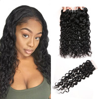 Wholesale 28 water wave hair extension - Cheap 8A Brazilian Water Wave With Closure Peruvian Wet and Wavy Hair 4 Bundles With Closure Malaysian Natrual Wave Human Hair Extensions