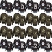 colchoneta verde ejército al por mayor-Hombres Custom 2018 Toronto Maple Leafs 1 Johnny Bower 7 Lanny McDonald 13 Mats Sundin 16 Mitchell Marner 19 Boudreau Black Army Green Jersey