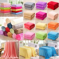 Wholesale queen fleece blankets - Solid color coral fleece thin blanket summer flannel spring and autumn double bed single office sofa siesta gifts blanket GGA446