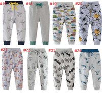 Wholesale baby boy shark resale online - INS casual Baby kids boy clothing pants cartoon Shark Car Plane Dinosaur Print Spring Fall Pant girl boy kids clothing pants