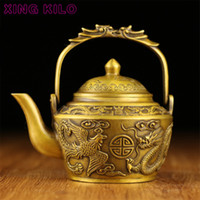 ingrosso pentole in ghisa-Pure copper dragon e Phoenix vino pot ornamenti ottone fusione pentola di rame antichi vecchi ornamenti drago cinese