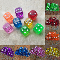 Wholesale transparent dice wholesale - 10Pcs 16mm Acrylic Transparent Round Corner Dice Clear Drinking Dice Portable Table Playing Game 7 Colors