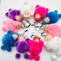 ingrosso bello bambino amanti-Ciondolo chiave della borsa del telefono dell'automobile della peluche dell'anello chiave della sfera dei capelli della bambola del bambino della mini bambola di sonno adorabile del giocattolo