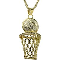 Wholesale glasses hop resale online - Hip Hop Bling Iced Out Full Rhinestone Basketball Pendant Necklace Stainless Steel Sport Long Necklace for Men Jewelry Gold Silver Colors