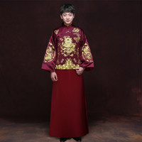 Wholesale dragon tang suit for sale - Group buy Traditional Show men chinese style wedding costume show Chinese wedding clothing groom red jacket tang Suit Dragon gown Robe